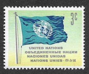 UN-NY # 105   3c Flag   Definitive 1962       (4)    Mint NH
