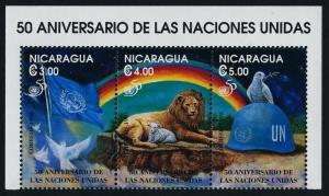 Nicaragua 2114 MNH UN 50th Anniv, Lion, Dove. Flag, Peace Keeping