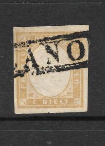 SARDINA  1855-63  10c  PALE BISTRE    FU   SG 41