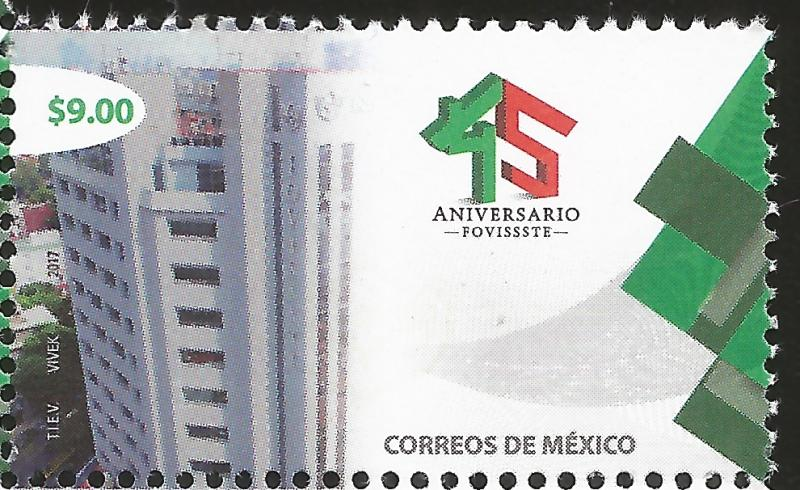 J) 2017 MEXICO, 45th ANNIVERSARY OF FOVISSSTE, BUILDING, MNH