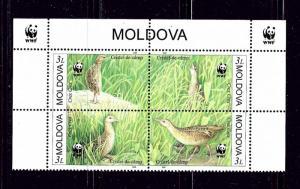 Moldova 370 MNH 2001 W.W.F. block of 4