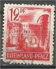 RHINE PALATINATE, 1948, used 12pf, Porta Nigra Scott 6N20