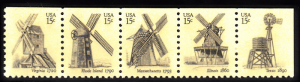 United States #1742a Windmills booklet strip of 5 MNH, Please see description.