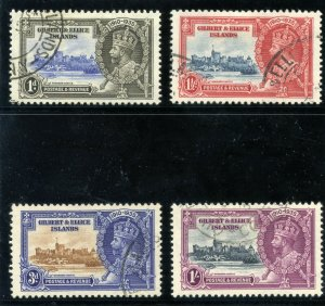 Gilbert & Ellice Is 1935 KGV Silver Jubilee set complete VFU. SG 36-39. Sc 33-36
