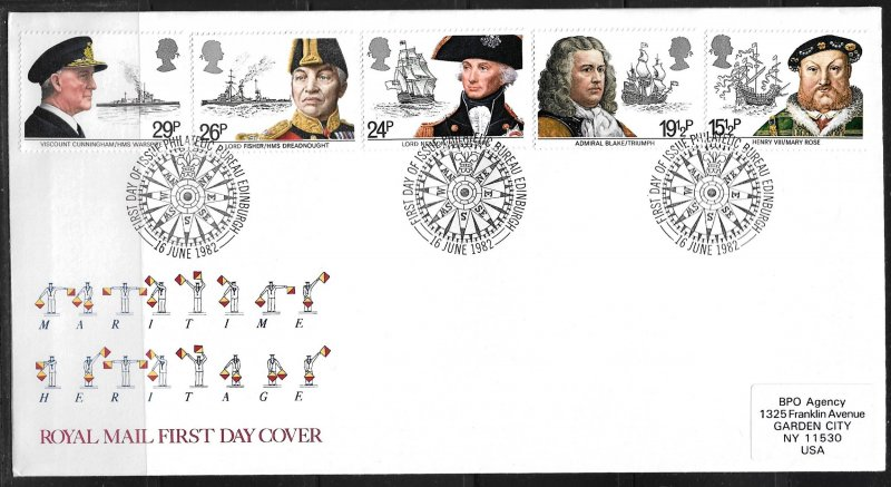 1982 Great Britain 991-5 Naval Leaders C/S of 5 FDC