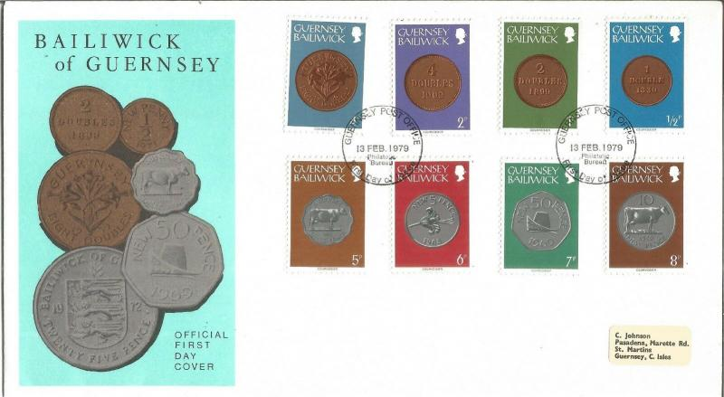 Bailiwick Of Guernsey Coins Official First Day Cover 13th February 1979 Z6414