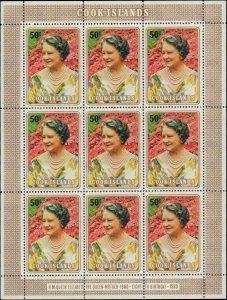 1980 Cook Islands #554, Complete Set, Sheet of 9, Never Hinged
