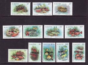 St Kitts-Sc#O29-O40-unused NH official set-Fish-Marine Life-1984-