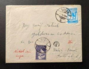 1946 Sivas Turkey Cover to Halic Fener Istanbul Turkey 179 Aux
