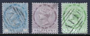 TOBAGO — SCOTT 2//10 (SG 2//10) — 1879-80 QV ISSUES — USED/FAULTS — SCV $197.50