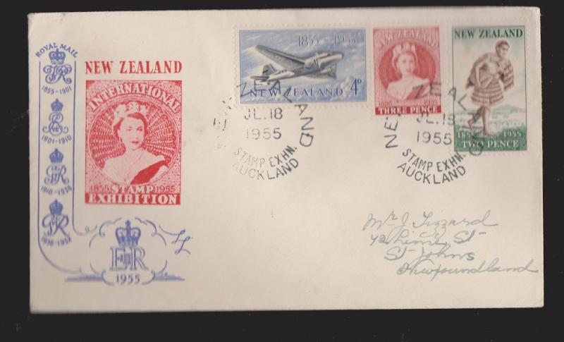 NEW ZEALAND Scott # 302-4 On FDC With Auckland Stamp Exhibition Cancel