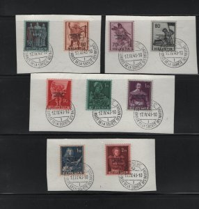 SWITZERLAND 3o71-3o79 (9) Set, Used, On Paper, 1944 founding of red cross