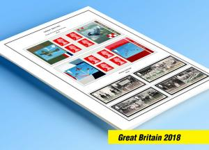 COLOR PRINTED GREAT BRITAIN 2018 STAMP ALBUM PAGES (24 illustrated pages)