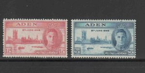 ADEN #28-29  1946  PEACE ISSUE   MINT VF NH  O.G  aa