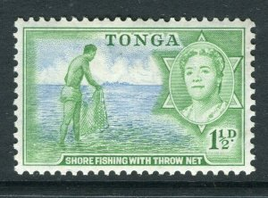 TONGA; 1953 early QEII issue fine Mint hinged 1.5d. value