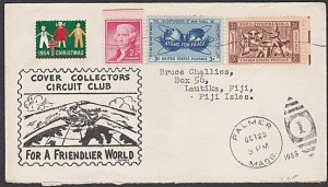 USA 1955 cover with nice franking to LAUTOKA, FIJI. ........................M111