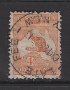 Australia 1913 Stamps 4d Kangaroo  & Map Scott 6 F