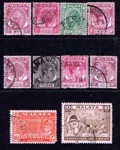 British Colonies & Territories Malaya STATE USED STAMPS COLLECTION LOT  #1