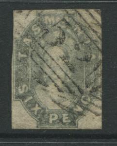 Tasmania 1863 6d gray lilac imperf used