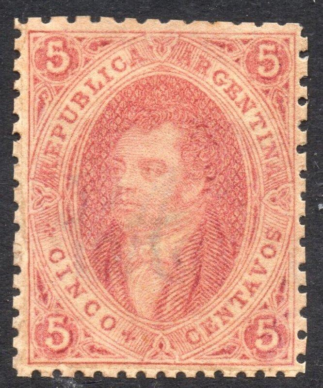 Argentina, 1864 Rivadavia, 1st. print, superb unused.