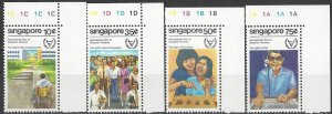 Singapore  378-81  MNH  WHO  International Year of Disabled Person