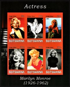 Botswana 2016 Marilyn Monroe mini souvenir sheet of 6 MNH Imperforate Hollywood