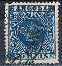 Angola 15 Used Portugese Crown missing perf 1818 (HV0066)