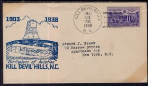 US Birthplace of Aviation,Kill Devil Hills,NC 1938 Cover