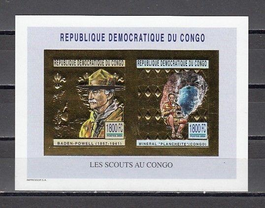 Congo, Dem. Rep. Mi. cat. 1794, BL196 B. Scout Gold Foil IMPERF s/sheet.