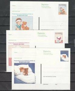 Slovenia, 1999 issue. Teddy Bears on 3 Postal Cards. ^