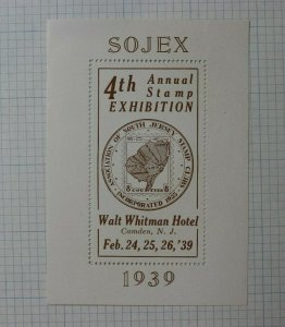 1939 SOJEX Assoc of S Jersey Stamp Club Walt Whitman Hotel Camden Souvenir Ad