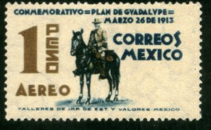 MEXICO C84, $1P 25th ANNIVERSARY PLAN OF GUADALUPE. UNUSED, H, OG. VF.