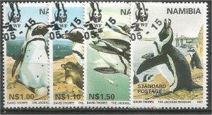 NAMIBIA, 1997, CTO Complete set, Jackass Penguins. Scott 821-824