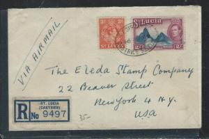 ST LUCIA (P2906B) 1949 KGVI 2/-+3D REG A/M TO USA