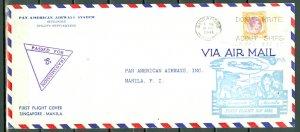 SINGAPORE-MANILA 1941 CENSORED FIRST FLIGHT COVER...VERY NICE