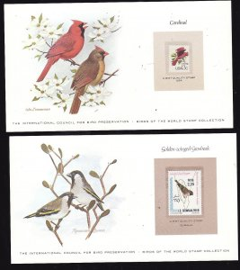 Birds-2 cards [#8c] with a mnh Bird of the World stamp-coloured cachet-Cardina