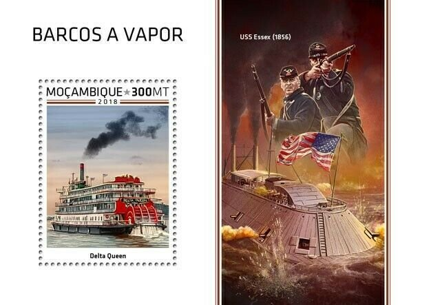 HERRICKSTAMP NEW ISSUES MOZAMBIQUE Steam Boats S/S