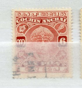 India Cochin 1933-38 Early Issue Fine Used 6p. Optd NW-16300