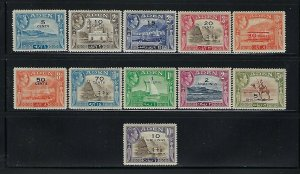 ADEN SCOTT #36-46 1951 GEORGE VI SURCHARGES- MINT HINGED/LIGHT HINGED