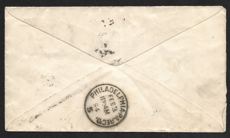 Doyle's_Stamps: 1894 Philadelphia, Penn., Spec Delivery Cover, Scott #E3 & #231