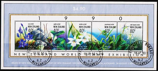 New Zealand. 1990 Orchids Miniature Sheet. S.G.MS1547 Fine Used