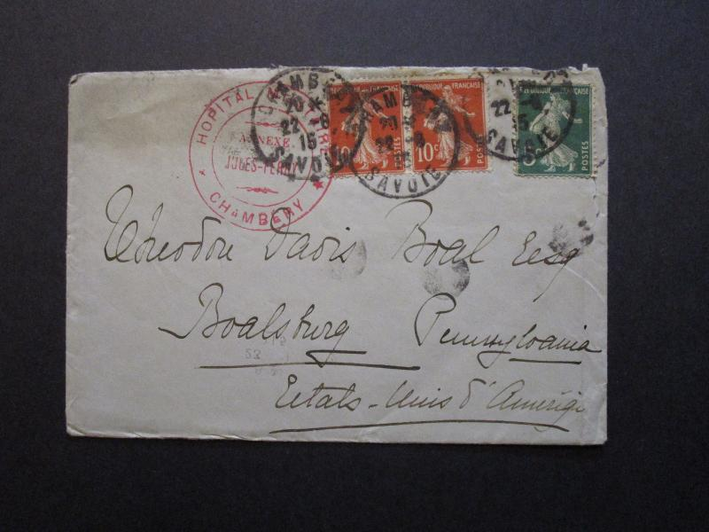 France 1915 Chambery Military Hospital Cover to USA - Z7088