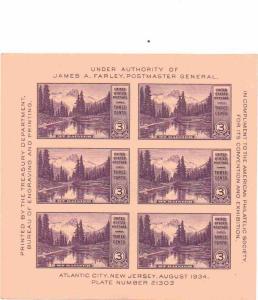 US 770 - 3¢ American Philatelic Press Sheet 20 Unused