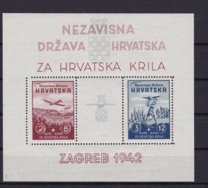CROATIA 1942 AVIATION FUND  MINT NEVER HINGED  STAMPS SHEET   R3893