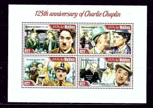 Maldive Is 3111 MNH 2014 125th Anniv of Charlie Chaplin sheet of 4