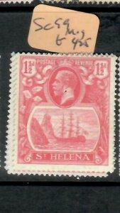 ST HELENA  (PP1305B)  KGV  1 1/2D  SHIP  SG 99     MOG