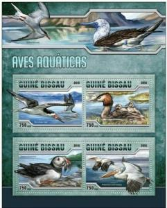 Guinea-Bissau MNH S/S Water Birds 2016 4 Stamps