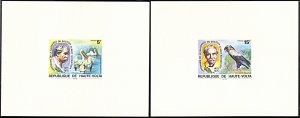 Upper Volta 368-369,C212-214, 5 deluxe proof cards, Albert Schweitzer and Birds