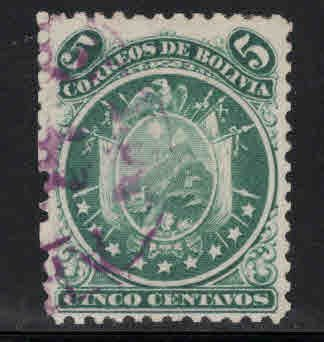Bolivia Scott 10 Used 1868  perf 12, 9 stars CV $18