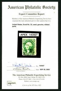 U.S. #32 Used with APS Cert